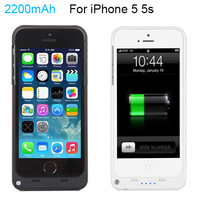 Portable 2200mAh External Power bank case pack backup battery Charge cover for iPhone 5G 5S with USB charger cable line