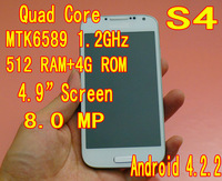 "Freeshipping S4 MTK6589 1.2GHz quad core 1920*1080 4.9""screen 8.0MP Android 4.2 Smart Phone Small Card spanish russian"