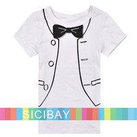 2014 boys t shirt children's new bow design fake formal clothes gentleman costume t-shirts clothing kids wear K0120