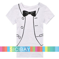 2014 boys t shirt children's new bow design fake formal clothes gentleman costume t-shirts clothing kids wear K0120
