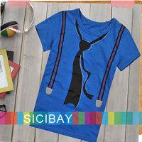 2014 New Boys T-shirts Summer Baby Fashion short sleeve Tees Children Tie Tops, Boys Clothes Kids T shirt,Free Shipping K0121