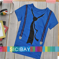 2014 New Boys T-shirts Summer Baby Fashion short sleeve Tees Children Tie Tops, Boys Clothes Kids T shirt,Free Shipping K0121
