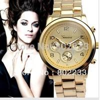 DHL shipping 2013 fashion carzy sale alloy metal band geneva watch,without diamond free shipping 50pcs/lot