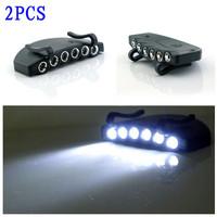 2pcs 6 Grain LED Hiking Camping Clip-On Under Brim Cap Hat Flashlight light Lamp free shipping
