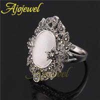 Size 7-9 Elegant style women's finger rings 18k white gold plated black cz fashion retro ring opal