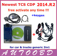Best Match!! With 8 CAR CABLES---Newest 2013 R3 RED TCS CDP pro plus generic 3 in1+Keygen in CD for cars+trucks