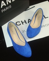 Free shipping simple solid wild European and American fashion shoes pointed flat shoes large size shoes