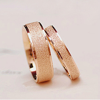 14k Розовый Золото plated matte titanium steel ring couple rings do not fade Oro ...