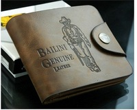 FREE SHIPPING Fashion Men Boys Genuine Cowboy Leather Bifold Wallet Multi Clutch Pocket Purse