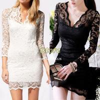 2013 New Autumn Women Sexy V-neck low-cut Long Sleeve Evening Party Lace Mini Bag Hip Dress Black/White SV001069