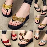 Free Shipping 2pairs/lot Women Ladies Sequins Sparkling Foam-soled Heavy Platform Flip Flops Shoes 5 Colors 38/40 SV001103 B011