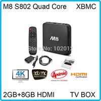 Smart 1080P HDMI XBMC Full Loaded DDR3 2GB 8G M8 TV Box Mail450 Amlogic S802 Quad Core Media Player Bluetooth Dual Wifi 2.4G/5G