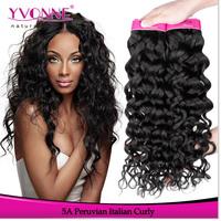 Peruvian Virgin Hair Grade 5A Italian Curly Human Hair Weave,3Pcs/Lot Yvonne Peruvian Curly Hair,12-28 Inches,Color 1B