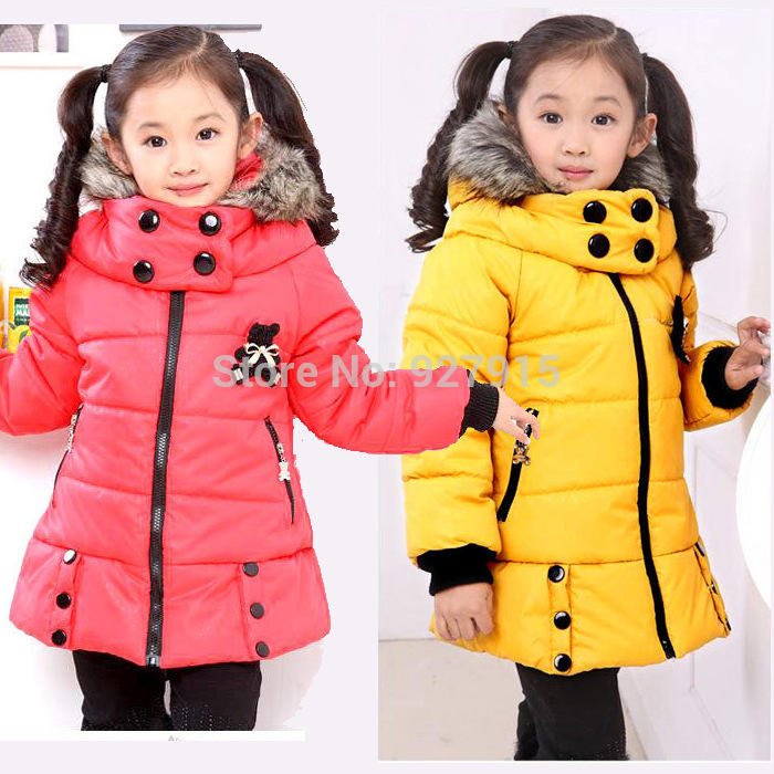 2015 girls down coat children outwear coat kids 4 colors girls winter bear jacket long sections coat free shipping for 3-12Y(China (Mainland))