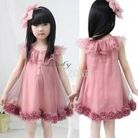 3pcs/lot New Girls Chiffon Dress/Children Casual Flowers Hem Lace Tutu Princess Dresses/Kids Party Sleeveless Dress b11 18157