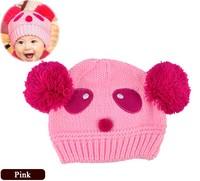 6pcs/lot 2014 New Lovely Panda Pattern Wool Baby Knit Hat Love Dual Ball Toddler Girls/Boys Sweater Cap Free Shipping 8189