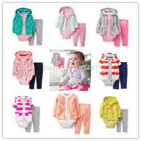 Retail,Baby Girls  Fashion Full Sleeve Casual Suit Clothing Set,Carter's 2pcs Set / Kamacar's 2pcs Set, Freeshipping (in stock)