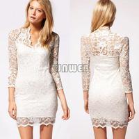 2014 New Autumn winter Women Sexy V-neck low-cut Long Sleeve Evening Party Lace Mini Bag Hip Dress Black/White 22