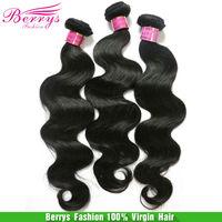 "6A  Peruvian Virgin hair Body Wave 3pcs/lot (8""-34"") Berrys hair products hair weaves,gloden beauty human hair"