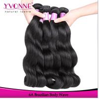 Grade 6A Brazilian Human Hair Extension,3Pcs/lot Body Wave Virgin Hair,Color 1B,12-28Inches Aliexpress Yvonne Hair