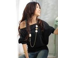 Sexy Trendy Off Shoulder Women T-Shirt Buttons Top Blouse Comfortable Cotton Material M,L,XL 3109