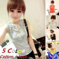 Womens Casual Tops Thread Cotton Crochet Lace T-Shirt O-Neck Sleeveless Basic T Shirt Blusa Renda Girls Tee Shirt Hot Sale