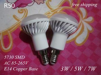 6 pcs Ceramic  E14 / not E27 LED bulb lamp light 85-265V 3W 4W 5W 7W 5730 SMD 110V / 220V cold cool warm white R50 free shipping