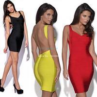Backless Spaghetti Strap Hl Sexy Bandage Dress Night Club Wear Open Back Ladies Elastic Yellow V Neck Party Mini Dress B2 19836