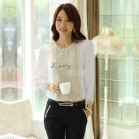 2014 New Elegant Lace Blouse Long Sleeve Blouses Women Tops Chiffon Shirts Embellished 2 Colors 4 Sizes B2 20036