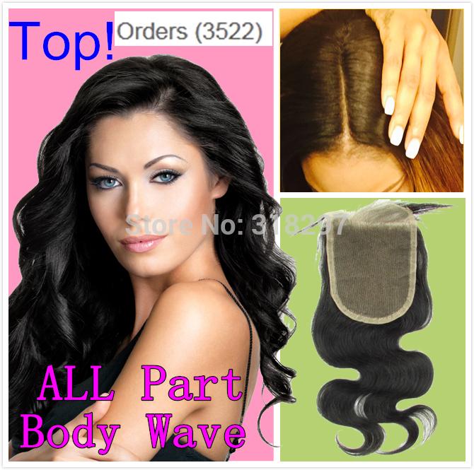 Brazilian Virgin Hair Closure Side Middle Part 3 Part Lace Closure Brazilian Hair Body Wave 3.5x4 Bleached Knots Top Closure(China (Mainland))