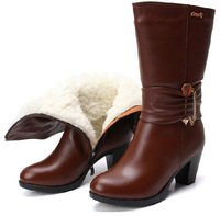Free ship genuine leather real wool lining calf high motorcycle boots Winter snow biker shoes for women 's 2013  size 35-40