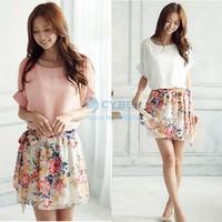 2014 New spring dress summer casual Plus Size Women Crewneck Chiffon Short Sleeve Floral Printed Mini Dress Pink, White 14510