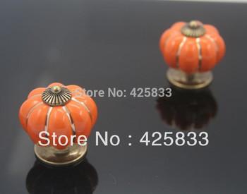 Free Shipping  Orange Ceramic Pumpkin Handles Zinc Alloy Cabinet Knob Kitchen Handle Drawer Pull Handle kitchen cabinet hardware