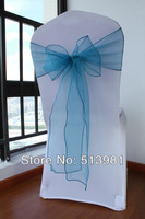 "free shipping chair sashe Teal Blue 7""x108"" Organza Chair Sash Bow Wedding and christm  Party Supply Professional Decorations"
