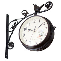 L036 free shipping double-faced wall hanging clocks. Iron wall clocks. hot sale modern wall clock. home clocks 2 color 1pc/lot