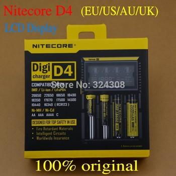 2015 New Nitecore D4 Digicharger LCD Display Nitecore Battery Charger Intelligent 2.0 Fit LI-ion 18650 14500 16340 26650Freeship