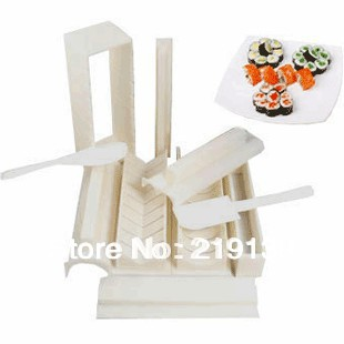 DIY Japanese Sushi Master Device Mould 10 Pieces Porphyrilic Rice Balls Set To Perfect Roll Sushi Easy Maker Roller Equipment(China (Mainland))