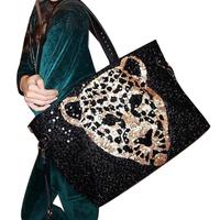 2013 paillette leopard print tiger women's one shoulder bag handbags portable women's handbag female bags Big bag Black