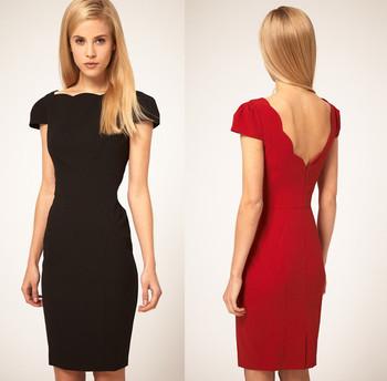 2014 New Fashion Women's Slim Work Dress Ladies Working A Line Knee Length Short Sleeve Pencil Dress Red Black S M L QS0029901