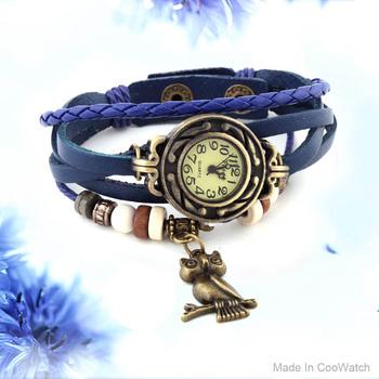 1pcs Owl Pendant PU Leather Strap Watch women Vintage Watches Quartz Casual watch bronze Ladies wristwatch bracelet Dress watch
