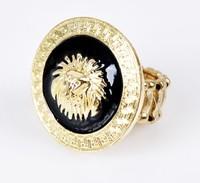 11.11 Rihanna Round Lion Head Medallion Gold Tone Statement Stretch Ring Celebrity Style