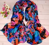 2014 New Fashion Carriage Print Scarf Women Summer Beach Chiffon Scarf Wrap Shawl