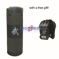 Free Gift! New 60Lb 35''  Fitness Training Unfilled Boxing Punching Bag Punch Bag (Empty) With Boxing Gloves Black Free Shipping