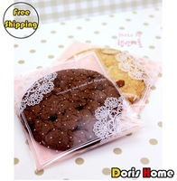 Free Shipping 200pcs plastic pink lace biscuit / cookie packaging bags