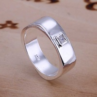 Free Shipping 925 Sterling Silver Ring Fine Fashion Zircon Square Ring Women&Men Gift Silver Jewelry Finger Rings SMTR051
