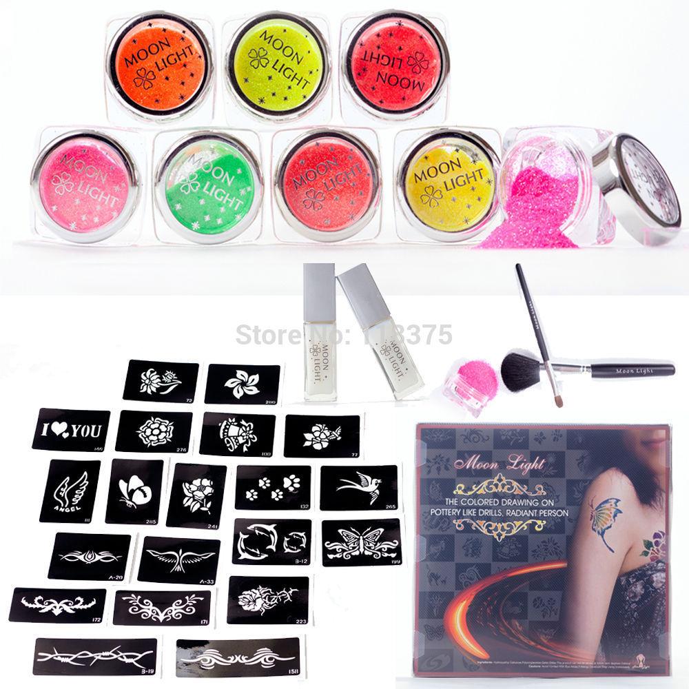 DHL&EMS FreeShipping 2Set/Lot Temporary Glitter Tattoo Kit 8 Color 20 Stencil 2 Glues 2 Brushes Set For Body Art PH-K005 Supply(China (Mainland))