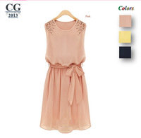 Women's Sleeveless Patchwork Knee-Length Chiffon Casual Dress With Pearls On Shoulder S~XXL Plus Size Freeshipping#CGD012