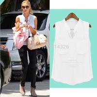 Women's Fashion Two Pockets Sleeveless Chiffon Shirt, Ladies' V-neck Casual Blouses Women Clothing  #SX9819