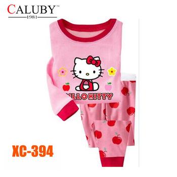 Girls Hello Kitty Clothing Set Kids Autumn -Summer Pajamas Sets New 2014 Wholesale Children LongSleeve Cartoon Pyjamas XC-394