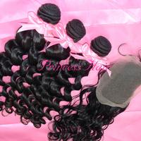 Best Selling 3pcs Peruvian Virgin Hair Natural Wave Hair And 1pc Top Lace Closure Mixed Natural Color 1b#,free shipping by DHL